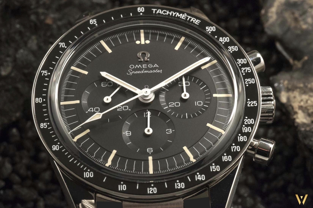 View of the gorgeous dial Omega Speedmaster Moonwatch Caliber 321