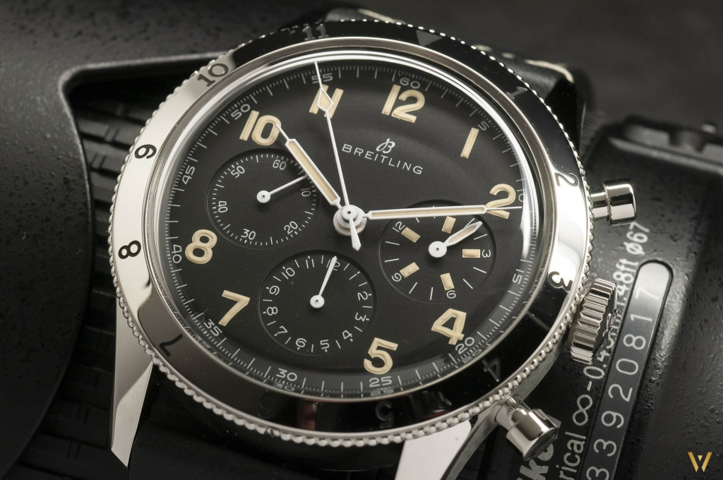 Focus on the black dial of the Breitling AVI 765 1953 Re-Edition