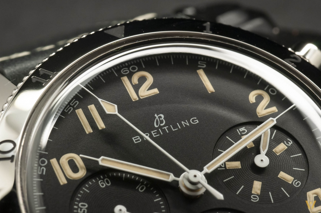 Detail #1: dial of the Breitling AVI 765 1953 Re-Edition
