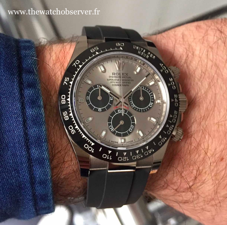 On the wrist: Rolex Daytona 116519LN