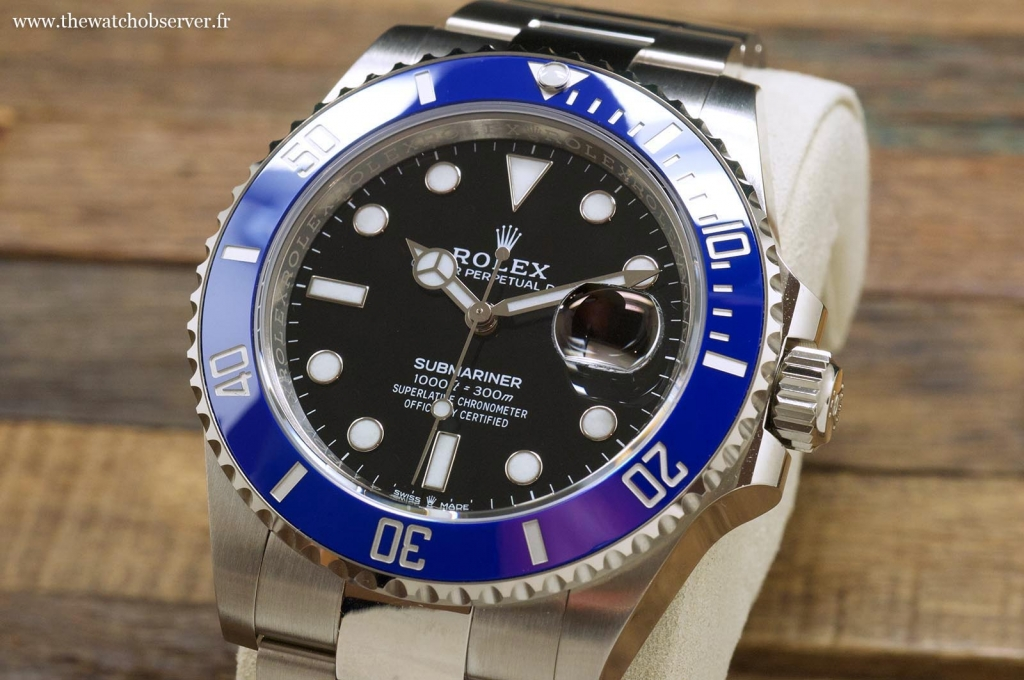 Blue bezel and black dial: the new Rolex Sub Date 41 white gold