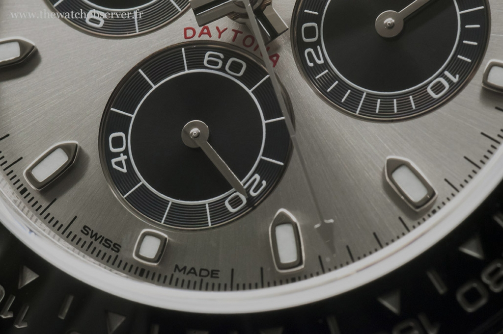 Detail of the Rolex Daytona 116519LN (panda dial)