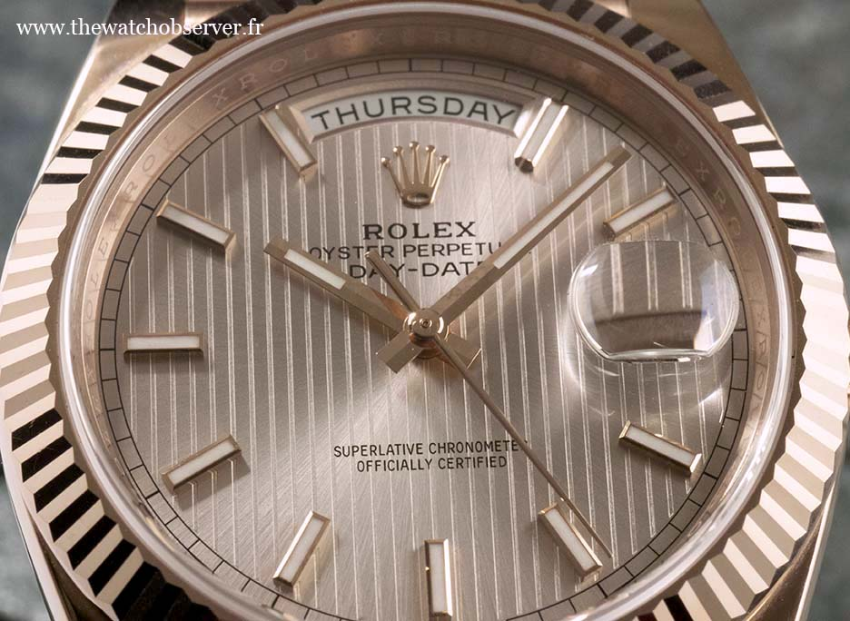 Rolex Day-Date 40: close-up on the dial