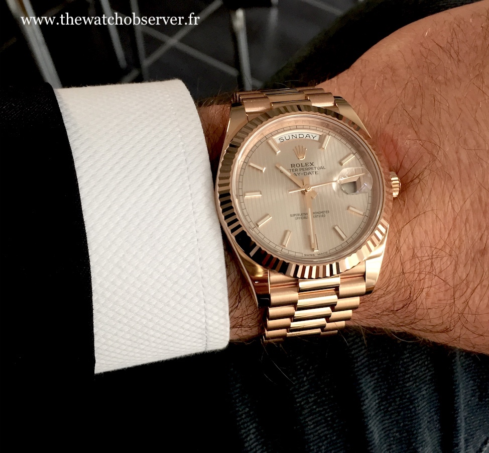 On the wrist - Rolex Day-Date 40 Everose gold