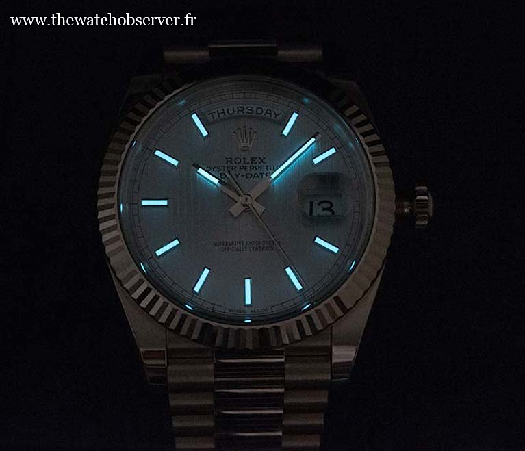 At night: Rolex Day-Date 40 ref. 228235