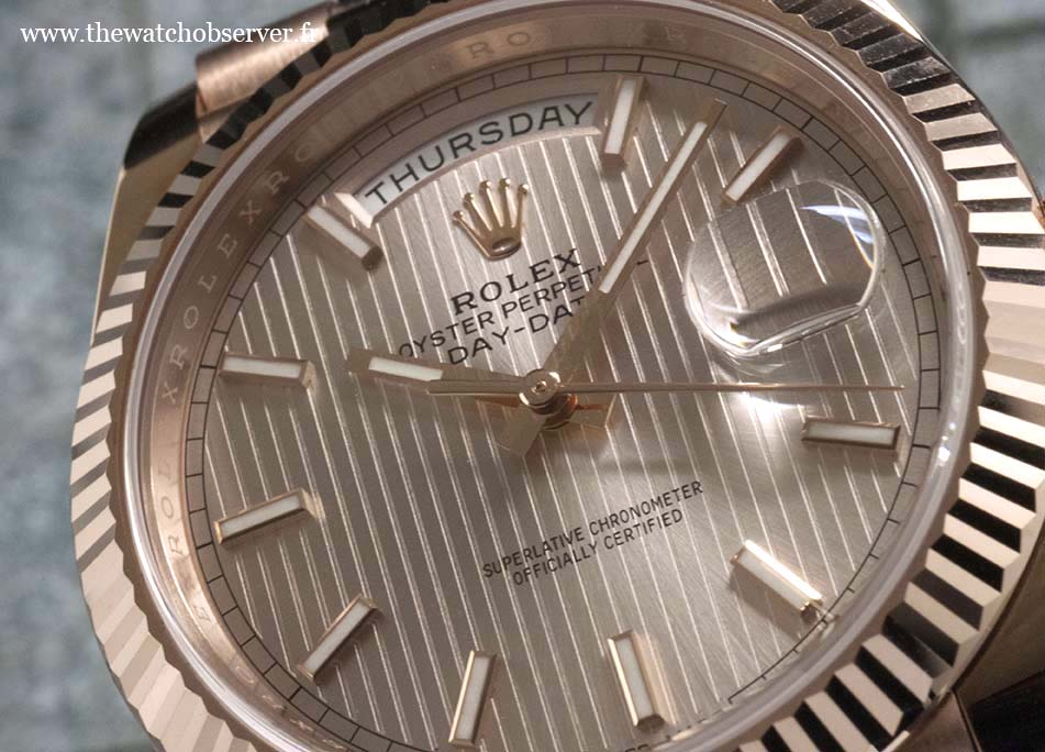 Close-up on the dial - Rolex Day-Date 40 pink gold Everose