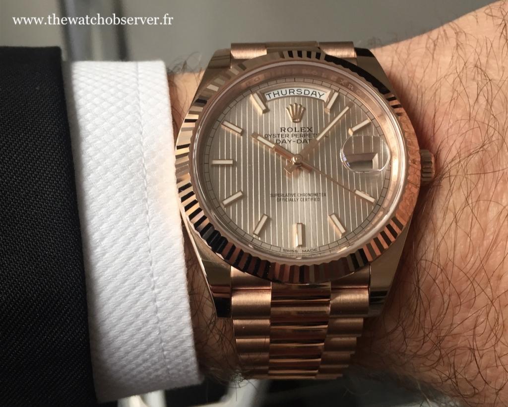 Wristshot Rolex Day-Date 40 gold Everose
