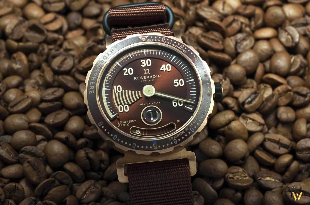 A Bronze sunburst finish dial on a dive watch