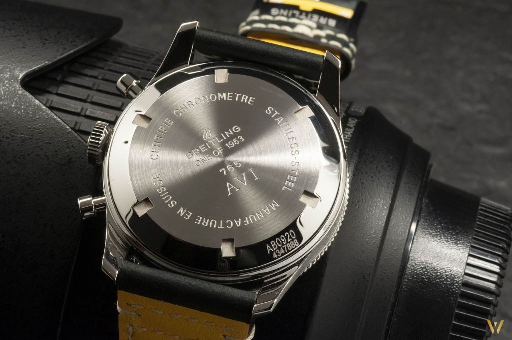 Breitling AVI 765 1953 Re-Edition - photo of the steel back