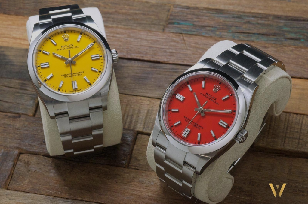 The new Rolex Oyster Perpetual yellow and coral red dial