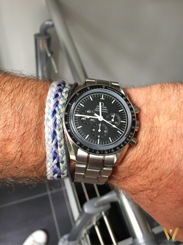 On the wrist: Omega Speedmaster Moonwatch