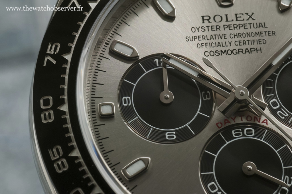 Rolex Daytona 116519LN: photo macro of the dial